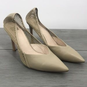 Louise et Cie Talissa fish net pointed heels Smokey taupe size 10